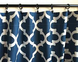 Moroccan Tile Curtain Panels by Blue Moroccan Tiles Valance Curtains 50x16 Inches Navy Blue