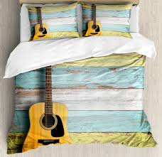 Ambesonne Music Acoustic Guitar Painted Aged Wooden Planks Rustic Country Decor Duvet Set