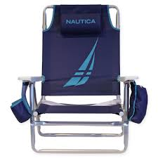 100 Nautica Folding Chairs NTBC18T 5Position Beach Chair Racer Blue VIP Outlet