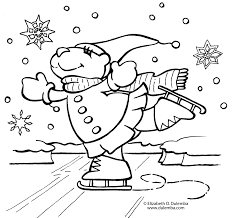 Ice Skating Winter January Coloring Pages