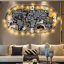 carlcr weltkarte wanduhr led licht lautlos ohne tickgeräusche große uhr metallrahmen holz hängende uhr wohnzimmer wand dekoration 100cmx52cm