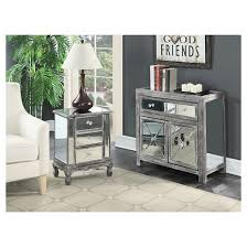 Gold Coast Vineyards 3 Drawer Mirrored End Table Weathered Gray