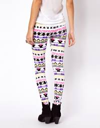 asos collection leggings in festival aztec print in purple lyst