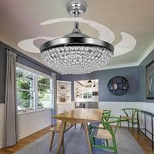TiptonLight Ceiling Fans With Lights 42 Inch Modern Chrome Fan Retractable Blades Crystal LED Chandelier