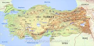 mountain ranges of europe turkey physical map