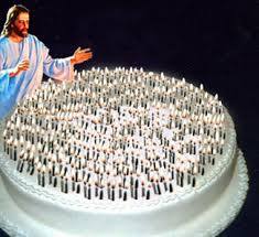 Jesus with 2 000 candle birthday cake