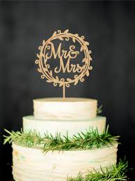 Mr Mrs Wedding Cake Topper Rustic And Wooden Wreath