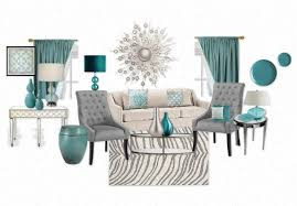 Grey And Turquoise Living Room Curtains by A Modern Mix Of Teal Grey And White Living Room With Mirrored