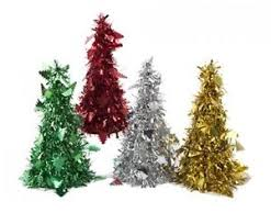 Image Is Loading Set Of 4 Foil Tinsel Cone Christmas Tree