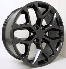 100 Oem Chevy Truck Wheels Style Satin Black Snowflake 22 Inch