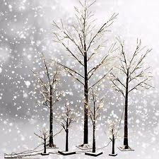 Frosted Brown Birch Twig Snow Tree Lights Lamp 24L 48L 72L Xmas