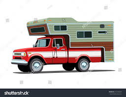 Classic Retro Camper Shell On Red Stock Vector (Royalty Free ...