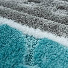 badematte kurzflor teppich badezimmer muster grau blau
