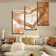Amazon Modern Abstract 3 Piece Oil Painting On Canvas Handpainted Love Paintings Wall Art For Living Room Home Decor Framed Stretched Ready To Hang