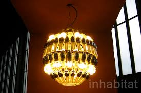 glimmering glow chandelier is made from recycled cfl bulbs