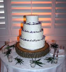 Buttercream Wedding Cake With Lavender Flowers