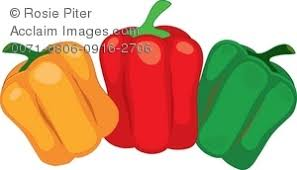 Clipart Illustration of Three Stages of Ripening Bell Peppers