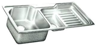kitchen sink with drainboard and backsplash stainless steel double