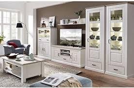 lomadox landhaus wohnwand set inkl couchtisch in pinie weiß