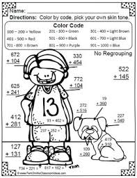 3rd Grade Go Math 17 Color By Numbers Addition Of Multi Digit To 1000