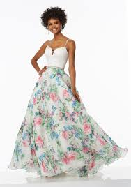 satin and printed organza prom dress with beading style 99005