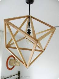 Hanging Cube Wood Ceiling Light