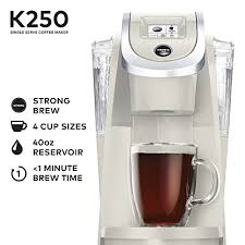 Keurig K250 Single Serve K Cup Pod Coffee Maker With Strength Control Sandy Pearl