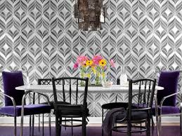 Contemporary Dining Room With Graphic Wallpaper