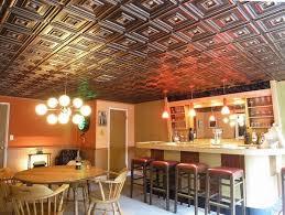 basement renovation ideas faux tin ceiling tiles bar area leather