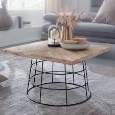 design couchtisch 60x36x60 cm mango massivholz metall sofatisch wohnzimmertisch quadratisch salontisch massiv kleiner tisch wohnzimmer