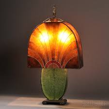 Mica Lamp Shade Company by Art Deco Table Lamp Mica Glass Metal Enamel Probably France