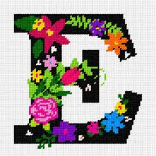 Needlepoint Canvas Letter E Bargello Nautical