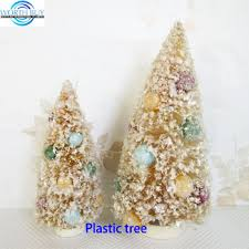 Frosted Ivory Christmas Bottle Brush Trees W Beads Decorated From Shenzhen Factory