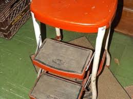 Cosco Retro Chair With Step Stool Black by Vintage Metal Step Stool Cabinet Hardware Room Best Antique