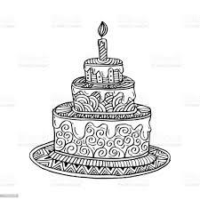 gezeichnet doodle kuchen stock vektor und mehr bilder ausmalen