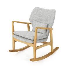 Mid Century Modern Light Gray Tweed Rocking Chair