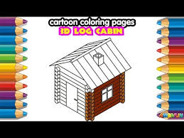 3D Log Cabin How To Draw Funky House Coloring Pages Educational Video For Kids