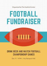 Teal Orange Yellow Football Fundraiser Sports Poster