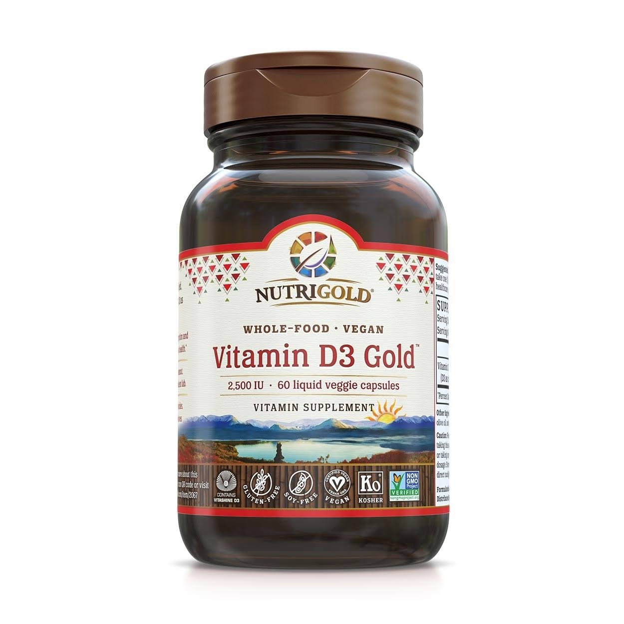 Nutrigold Vitamin D3 Gold Bone Prostate and Immune Support Veggie Capsules - 60ct