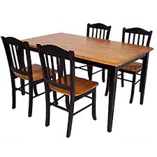 Boraam 80536 Shaker 5 Piece Dining Room Set Black Oak