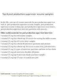Resume Examples For Manufacturing Supervisor As Well Production Frame Astonishing 317