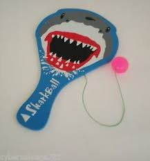 Get Quotations Wooden Paddle Ball Game Board With Shark Theme NIP 11 X 6