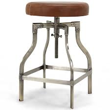 Clive Adjustable Height Swivel Bar Stool, Cocoa Leather