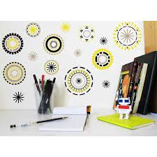 stickers chambre ado sticker mural cercles jaunes noirs gris motif formes