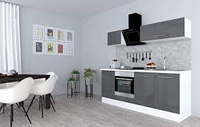 respekta küchenzeile küche küchenblock einbauküche hochglanz 210 cm weiß grau