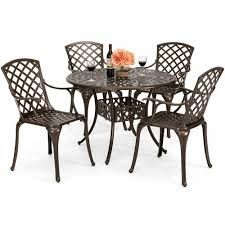 Best Choice Products 5-Piece All-Weather Cast Aluminum Patio Dining Set W/  4 Cha Amazoncom Tk Classics Napa Square Outdoor Patio Ding Glass Ding Table With 4 X Cast Iron Chairs Wrought Iron Fniture Hgtv Best Ideas Of Kitchen Cheap Table And 6 Chairs Lattice Weave Design Umbrella Hole Brown Choice Browse Studioilse Products Why You Should Buy Alinum Garden Fniture Diffuse Wood Top Cast Emfurn Nice Arrangement Small For Balconies China Seats Alinium And Chair Modway Eei1608brnset Gather 5 Piece Set Pine Base
