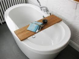 simple diy bathtub trays for reading made from teak wood ideas
