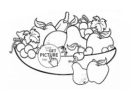 Big Bowl Of Fruits Coloring Page For Kids Pages