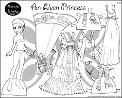 Four Princess Coloring Pages To Print Dress Inside Paper Doll