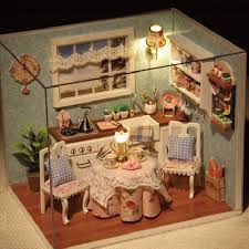 DIY Wooden Doll House Toys Miniature Box Kit With Cover And LED Furnitures Handcraft Diy